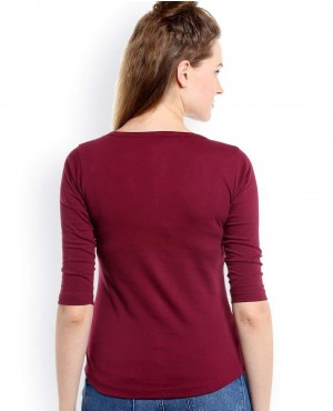Women-Burgundy-Buttoned-Neck-T-Shirt-RO-2553-20-(1)