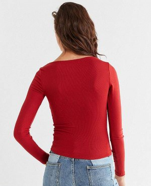 Women-Red-Plunging-Long-Sleeve-T-Shirt-RO-2561-20-(1)