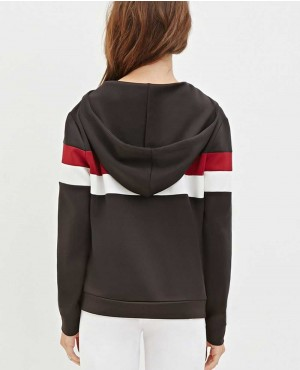 Women Front Neck Half Zipper Striped Hoody RO 10185 (1)
